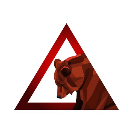 Vector Illustration. Warning Sign with Low Poly Bear.