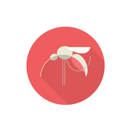Mosquito as Red Flat Design Icon. Vector Illustration.