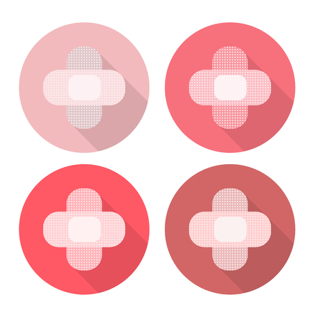 Medical plasters folded in the shape of a cross. Flat Design Icon in multiple color variants.