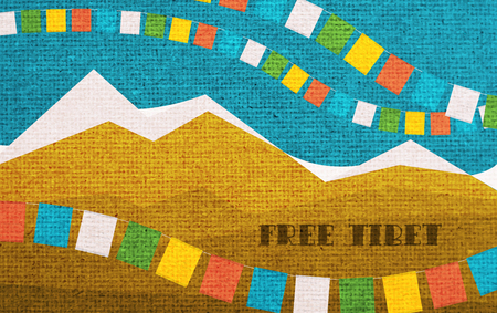 Free Tibet. Card to Remember of International Tibet Day. 写真素材