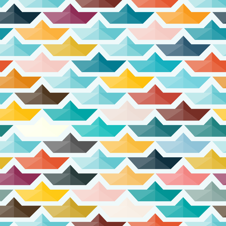 Seamless Pattern with Paper Boats. Colorful Background in Sommer Mood. Vector Illustration. Standard-Bild - 124168021