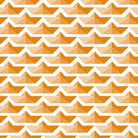 Seamless Pattern. Background with Repeating Orange Paper Boat. Vector Illustration. Ilustração