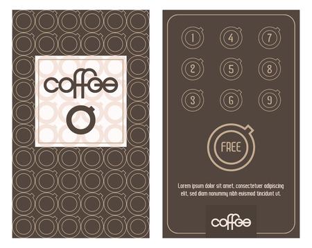 Coffee card. Horizontal card with loyalty program for customers of coffee Shops, caffee houses etc. Bonus program get one free.