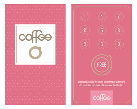 Carte de café. Carte horizontale avec programme de fidélité pour les clients des cafés, cafés, etc. Programme de bonus, obtenez-en une gratuitement.