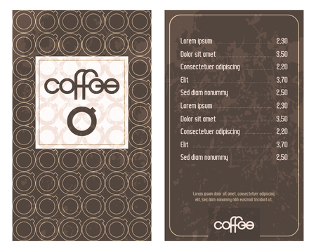 Coffee House menu with original modern lettering and stylized coffee cups. Vector Illustration.