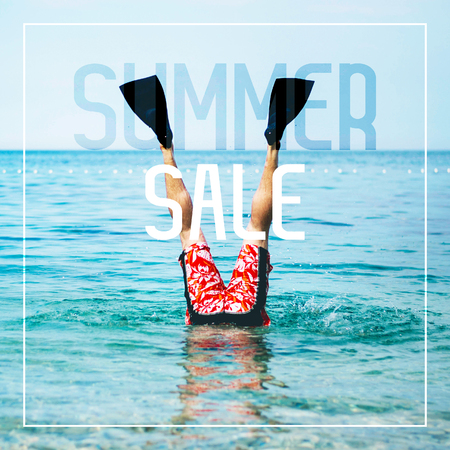 Summer Sale Banner with Legs with Fins for Swimming above the Water Surface.