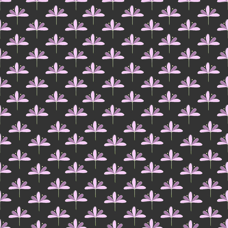 Seamless Pattern: Repeating Lila und Violet Blossoms on Dark Background.