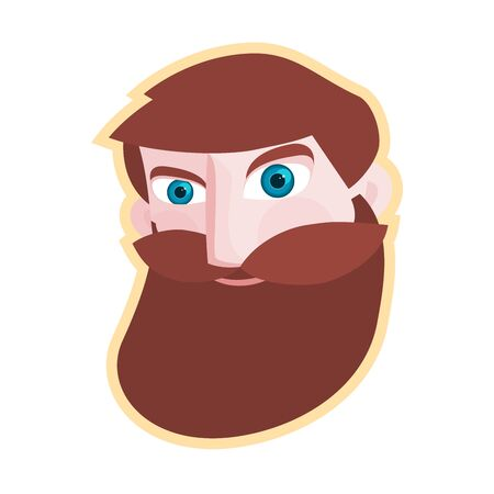 Simple head of bearded hipster man. Vector illustration, Grafic element in flat design.