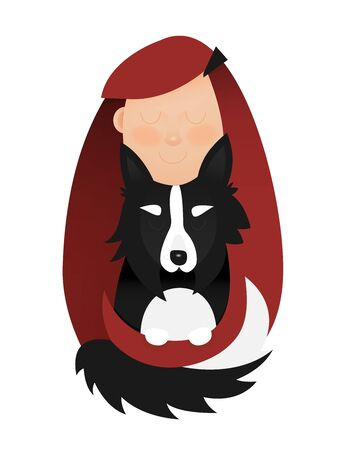 Illustration of young girl hugging, petting, holding the dog. Redheaded Girl with Black and White Border Collie.