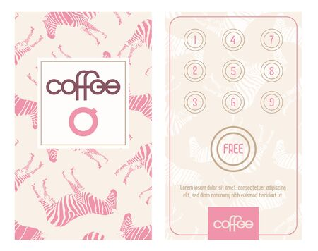 Horizontal card with loyalty program for customers. Designed for e.g. coffee shops, caffee houses, bistro, etc. Bonus program get one free. Ilustração