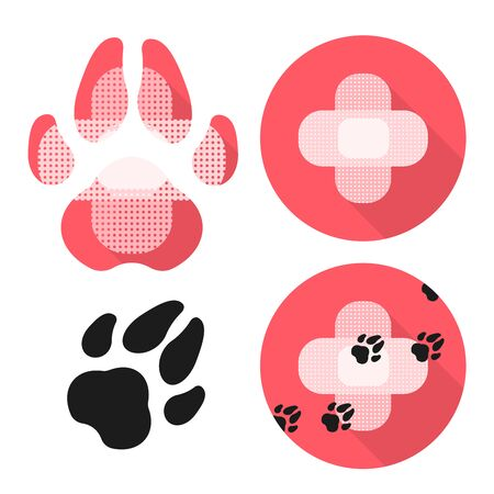 Dog Paw and Cross Made from Medical Patchs. Set of Ikons with Veterinary Care Thematik.