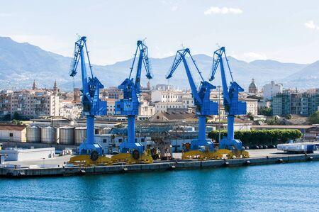 Sicily, Palermo, May 2018. Big cranes in the harbor of Palermo.