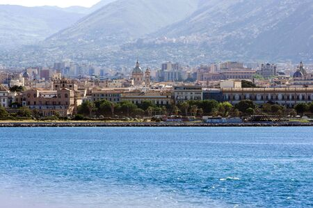 Sicily, Palermo, May 2018. City of Palermo, a view from sea.