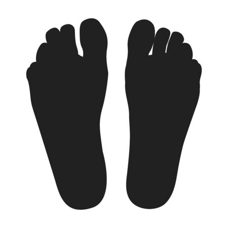 Two black feet. Right and left foot. Иллюстрация