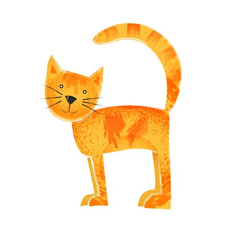 Cute cat. Simple orange standing animal with texture. Фото со стока