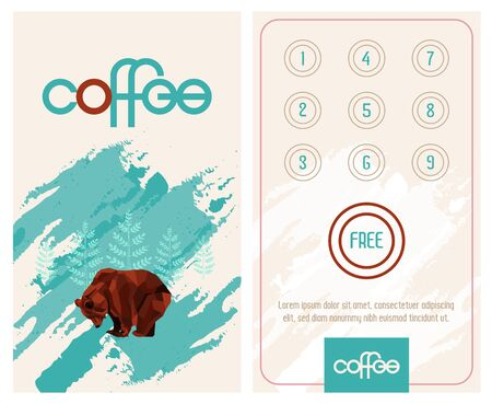 Loyalty card. Buy 10 get 1 free as bonus. Pattern with low poly bear.