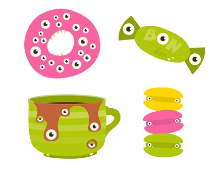 Sweets stylized as cute Halloween monsters. Doughnut, bonbon, cupf of caffee and macroons with many eyes and sharp teeth.