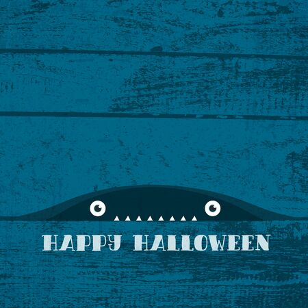Happy Halloween Greeting Card. Creepy Monster with sharp teeth looking from darkness. Фото со стока