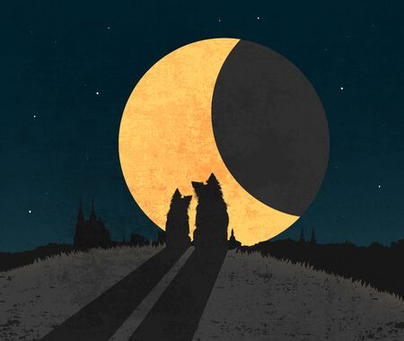 Silhouette of two dogs sitting in grass on the top of hill over city a front of big moon.
