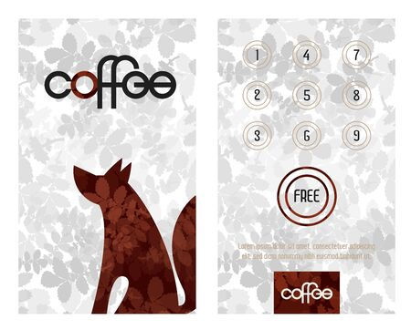 Loyalty card. Horizontal card with loyalty program for customers of coffee Shops, caffee houses and more. Sitting wolf or dog.