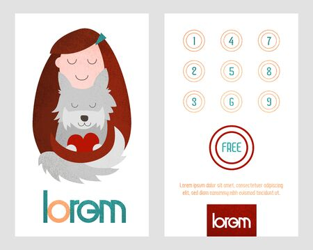 Loyalty card. Card with loyalty program for customers of pet shop, veterinarian care, pets salon etc. Фото со стока