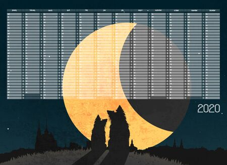 Yearly Wall Calendar Planner Template for Year 2020. Silhouette of two dogs sitting in grass on the top of hill over city a front of big moon. Banco de Imagens - 131001244