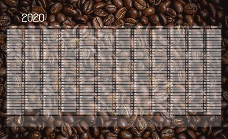 Yearly Wall Calendar Planner Template for Year 2020. Background with splited coffe beans.