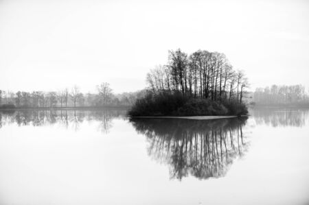 Black and white photo of small isle with trees reflecting in big pond.