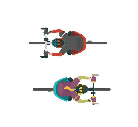 Two vector illustrations of bikers. Man and women on MTB mountain bike. Top view, view from above.