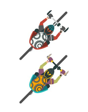 Two vector illustrations of bikers. Man and women with bags on MTB mountain bike. Top view, view from above.