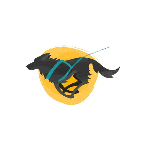 Mushing, canicross: pulling dog with harness. Black dog on yellow textured background. Ilustracje wektorowe