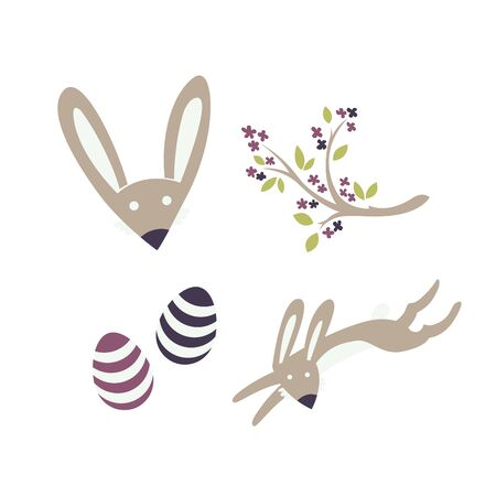 Bunny, blooming twig and eastereggs. Vector elements for Easter or springtime.