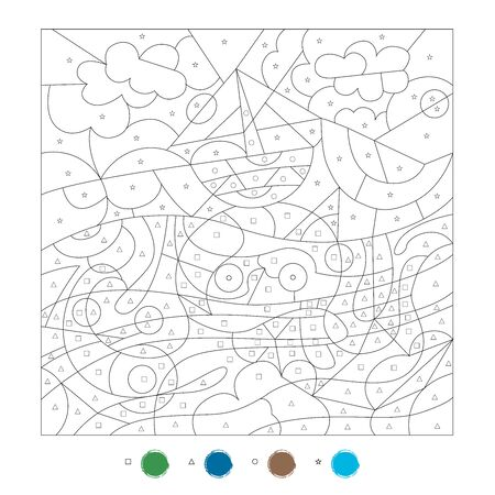 Coloring by symbols. Educational game for children. Octopus and ship. Vektorové ilustrace