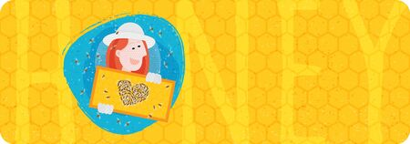 Woman holding honeycomb. Bees making heart. Label for beekeeper, for honey products.