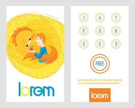 Buy 9 get 1 free card. Man with horse on loyalty card. Ilustração