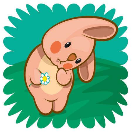 bashful: bashful bunny with flower Stock Photo