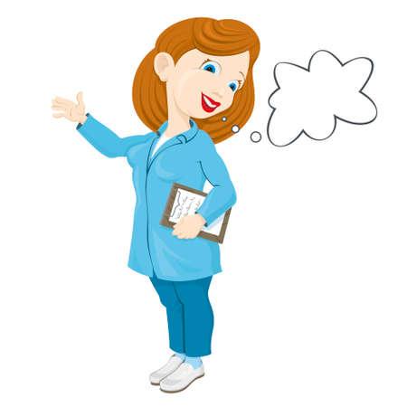lab coat: smiling nurse in a medical lab coat Illustration
