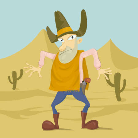 vaquero: bandit in the desert ready to shoot Illustration