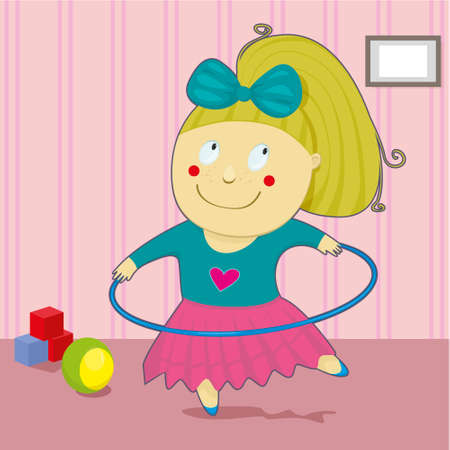 Little girl playing with the hula Hoop Vector