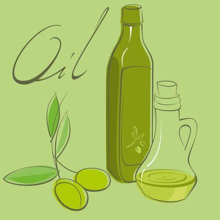 cruet: olive oil and glass vessels Illustration