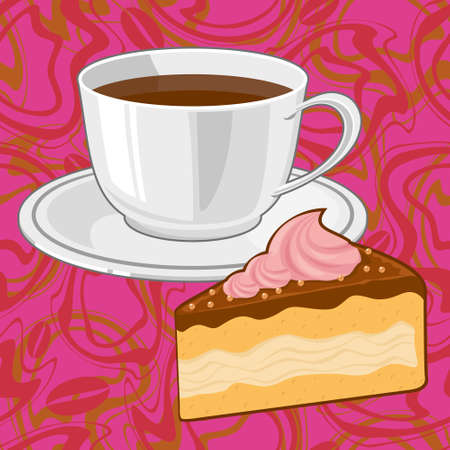 turkish dessert: cup of coffee and a piece of chocolate cake