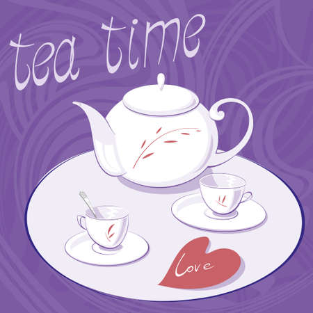 non alcoholic: Tea time! Afternoon tea with a white teapot and two cups