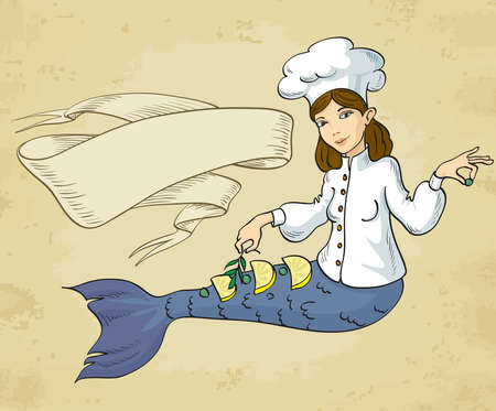adult mermaid: Vector cartoon of a mermaid chef