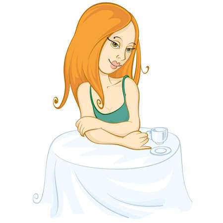 girl at the table with a cup of coffee Vector