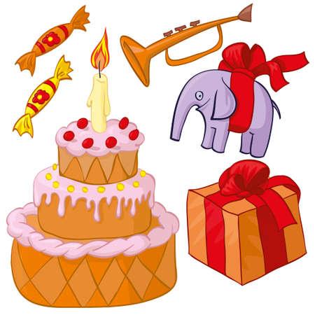 fife: Birthday party - cake, present, toy