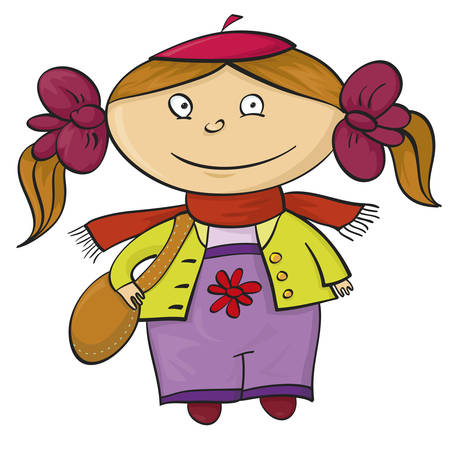 neckerchief: The vector image of a little smiling girl Illustration