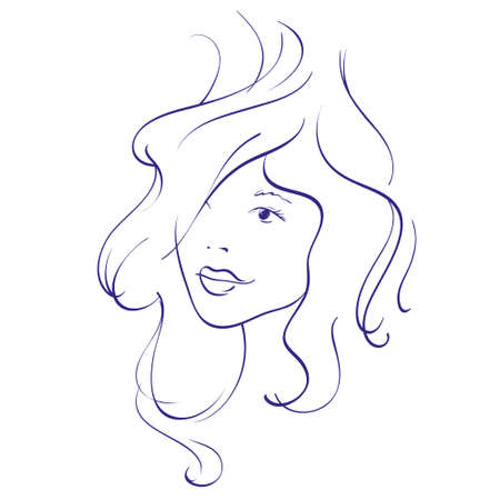 pelo ondulado: Chica joven hermosa con el pelo ondulado