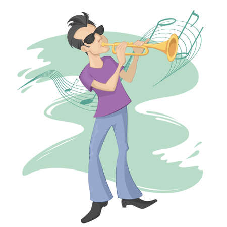 trumpet player: A trumpet player in front of music notes