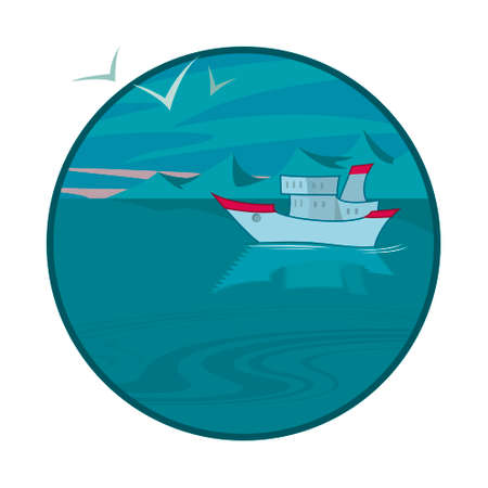 floating island: vector illustration of a ship at a cold sea