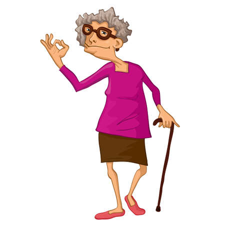 This illustration depicts an old woman Ilustracja